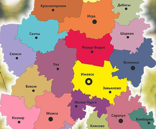 Карта Удмуртской Республика в векторе CorelDraw Adobe Illustrator
