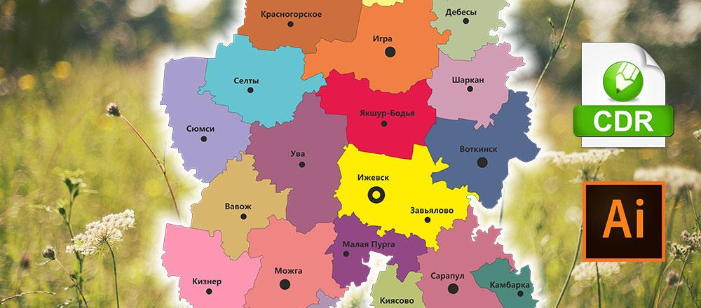 контур Карта Удмуртской Республика в векторе