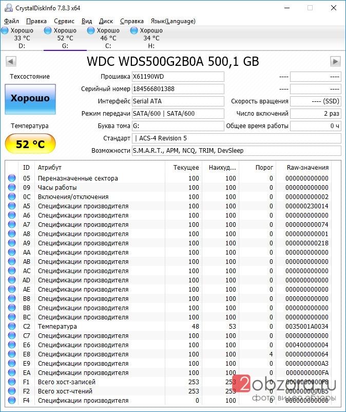 SSD диск WD Blue 500Gb (WDS500G2B0A) нагрев CristalDiskInfo