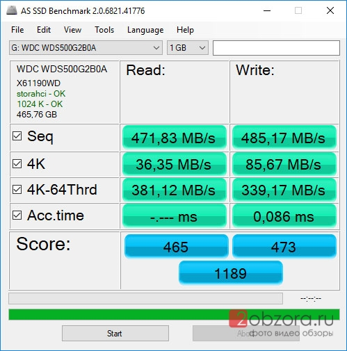 SSD диск WD Blue 500Gb (WDS500G2B0A) AS SSD Benchmark