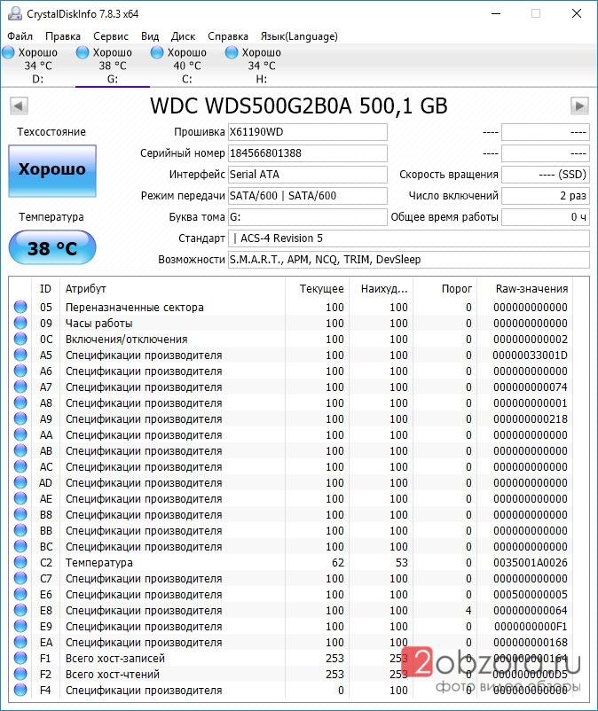 SSD диск WD Blue 500Gb (WDS500G2B0A) CrystalDiskInfo