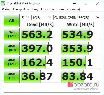 SSD диск WD Blue 500Gb (WDS500G2B0A) CrystalDiskMark